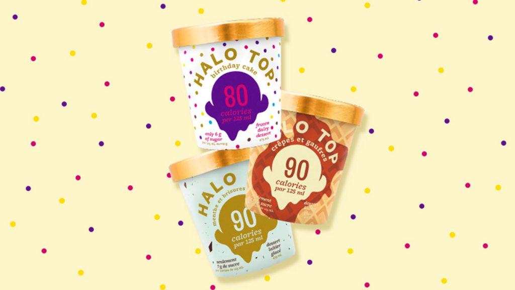 pints of halo top ice cream on yellow polka dot background