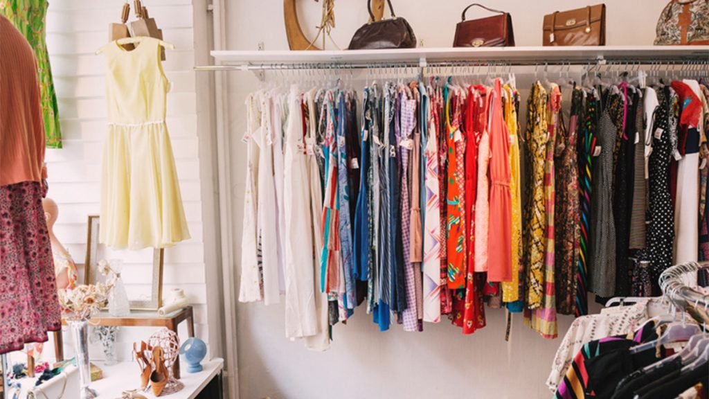 where to donate clothes in canada: rack of colourful clothing