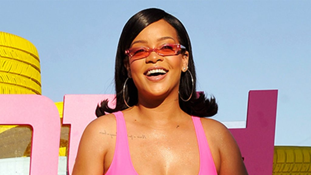 rihanna at coachella in pink swimsuit