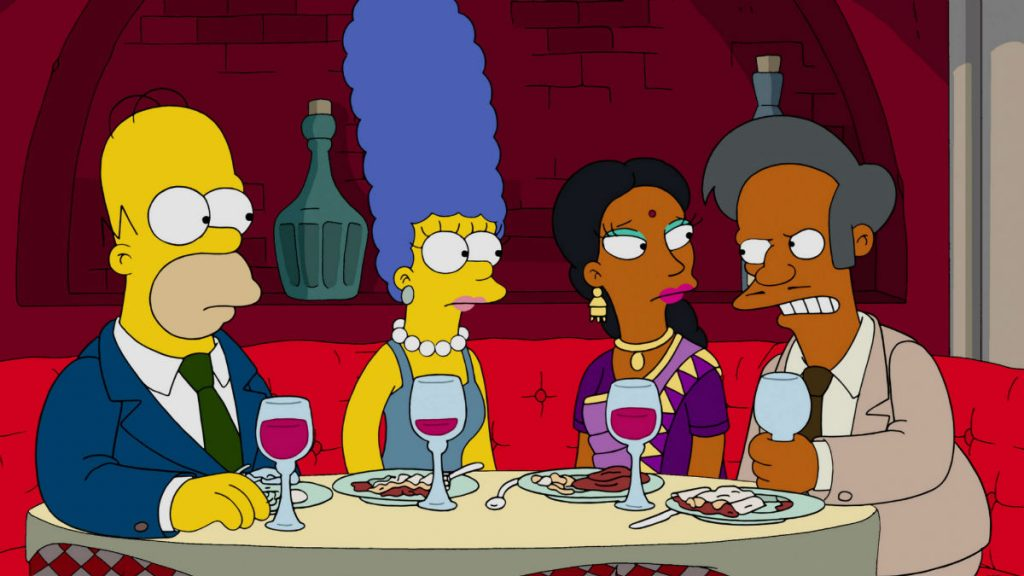 THE SIMPSONS, l-r: Homer Simpson, Marge Simpson, Manjula, Apu Nahasapeemapetlion in 'Much Apu About Something' (Season 27, Episode 12, aired January 17, 2016). TM and Copyright ©20th Century Fox Film Corp. All rights reserved